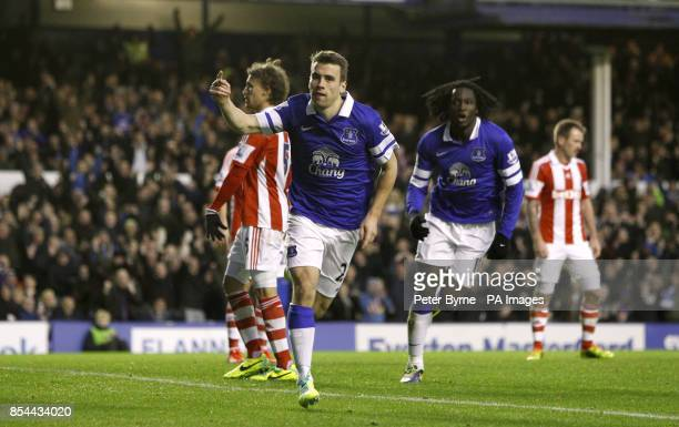 Everton's Seamus Coleman celebrates scoring his side's second goal of the game