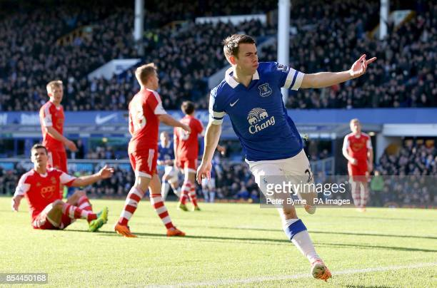 Everton's Seamus Coleman celebrates scoring their first goal of the game