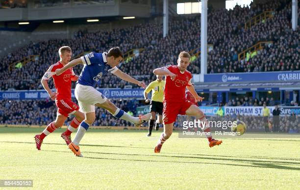 Everton's Seamus Coleman scores their first goal of the game