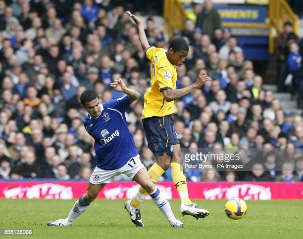 Everton's Tim Cahill and West Bromwich Albion's Ryan Donk battle for the ball