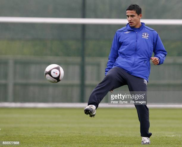 Everton's Tim Cahill during a training session at Finch Farm Training Complex Halewood ahead of their FA Cup Semi Final match against Manchester...