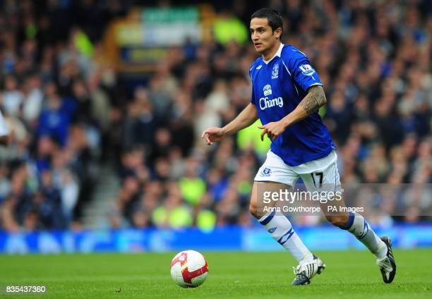 Everton's Tim Cahill in action during the Barclays Premier League match at Goodison Park Liverpool