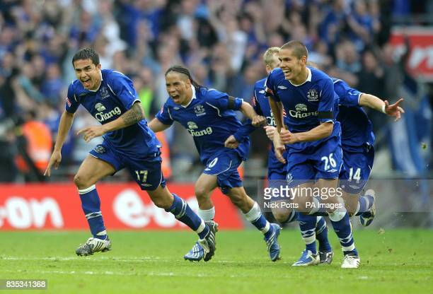 Everton's Tim Cahill Steven Pienaar and Jack Rodwell celebrate after winning the penalty shootout