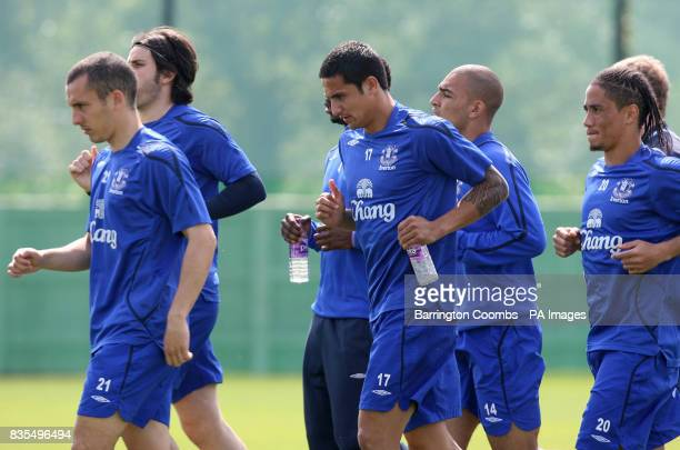 Everton's Tim Cahill takes part in a training session during the media day at the Finch Farm Training Complex Halewood