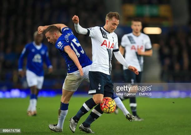 Everton's Tom Cleverley and Tottenham Hotspur's Christian Eriksen battle for the ball