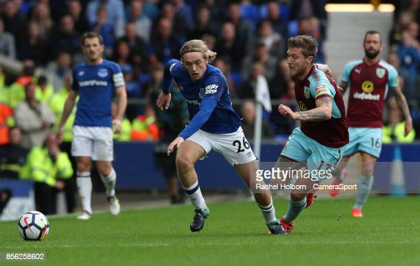 Everton's Tom Davies and Burnley's Jeff Hendrick during the Premier League match between Everton and Burnley at Goodison Park on October 1 2017 in...