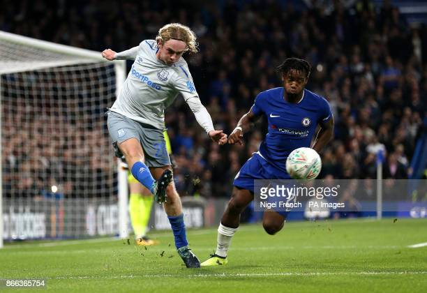 Everton's Tom Davies and Chelsea's Michy Batshuayi battle for the ball during the Carabao Cup Fourth Round match at Stamford Bridge London