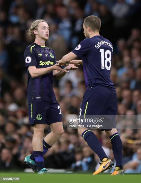 Everton's Tom Davies is substituted for Gylfi Sigurdsson during the Premier League match at the Etihad Stadium Manchester
