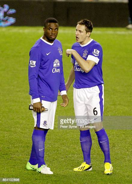 Everton's Victor Anichebe and Phil Jagielka before the game
