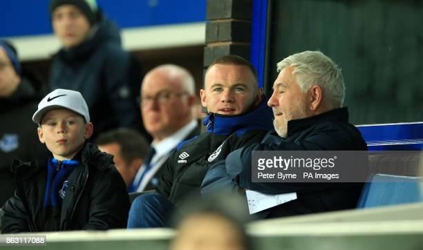 Everton's Wayne Rooney in the stands during the UEFA Europa League Group E match at Goodison Park Liverpool