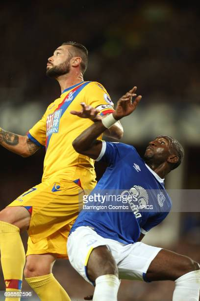 Everton's Yannick Bolasie and Crystal Palace's Damien Delaney battle for the ball