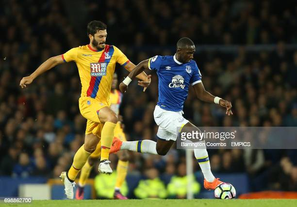 Everton's Yannick Bolasie and Crystal Palace's James Tomkins in action