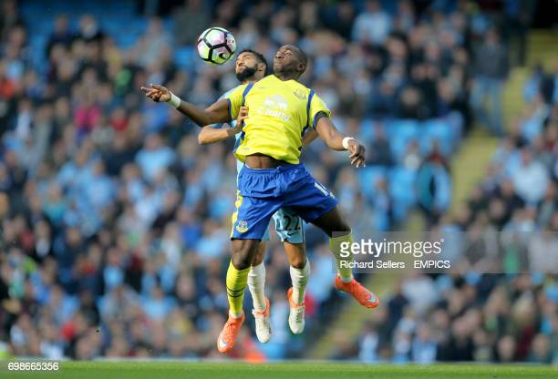 Everton's Yannick Bolasie and Manchester City's Gael Clichy challenge