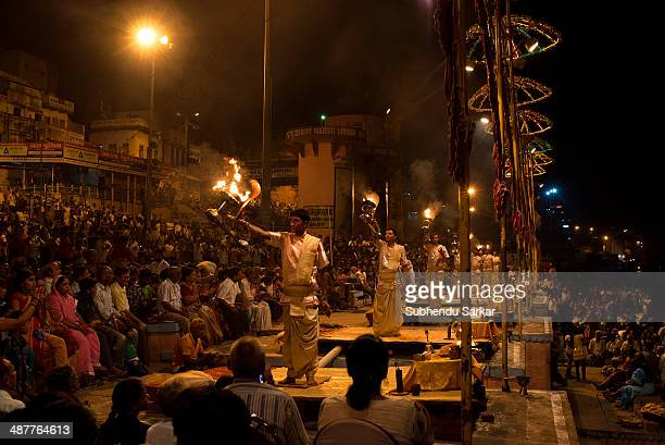 Every evening aarti is performed on the ghats of Varanasi It is intended to worship the river Ganges Varanasi is a holy city on the banks of the...
