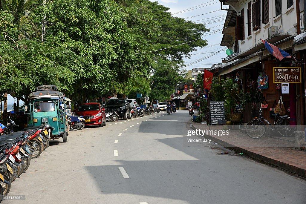 Everyday life Luang prabang street Laos Asia : Stock Photo