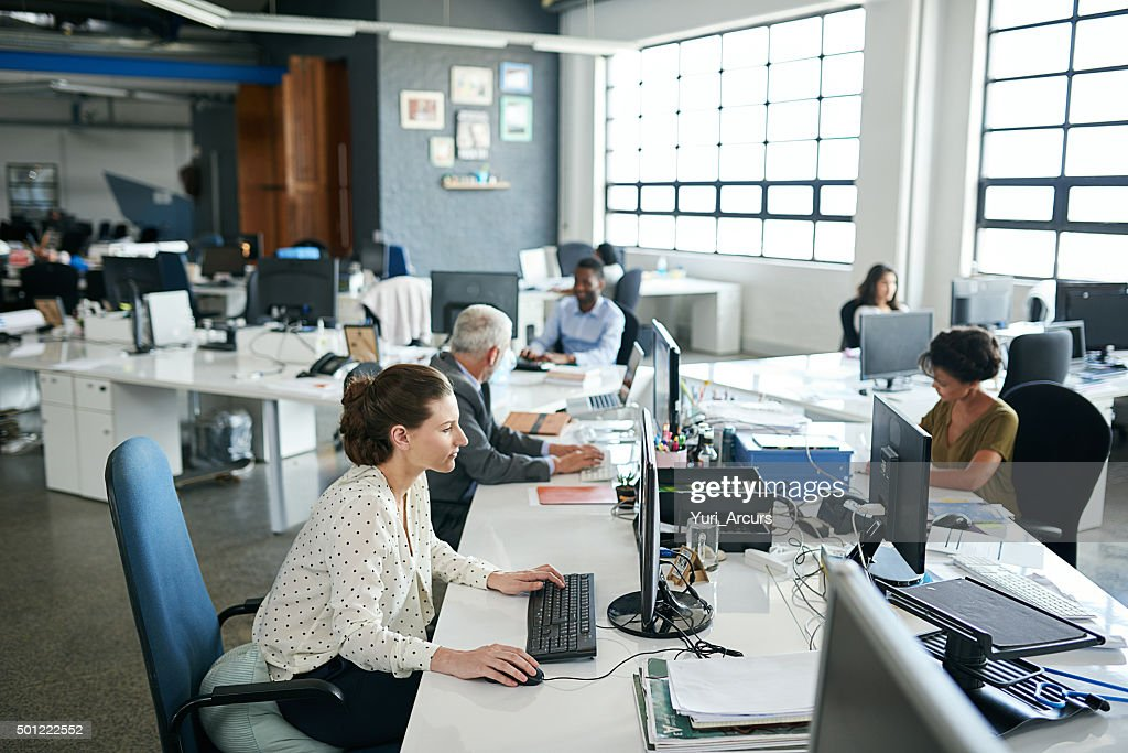 Everyone's one hundred percent focused in this office! : Stock Photo