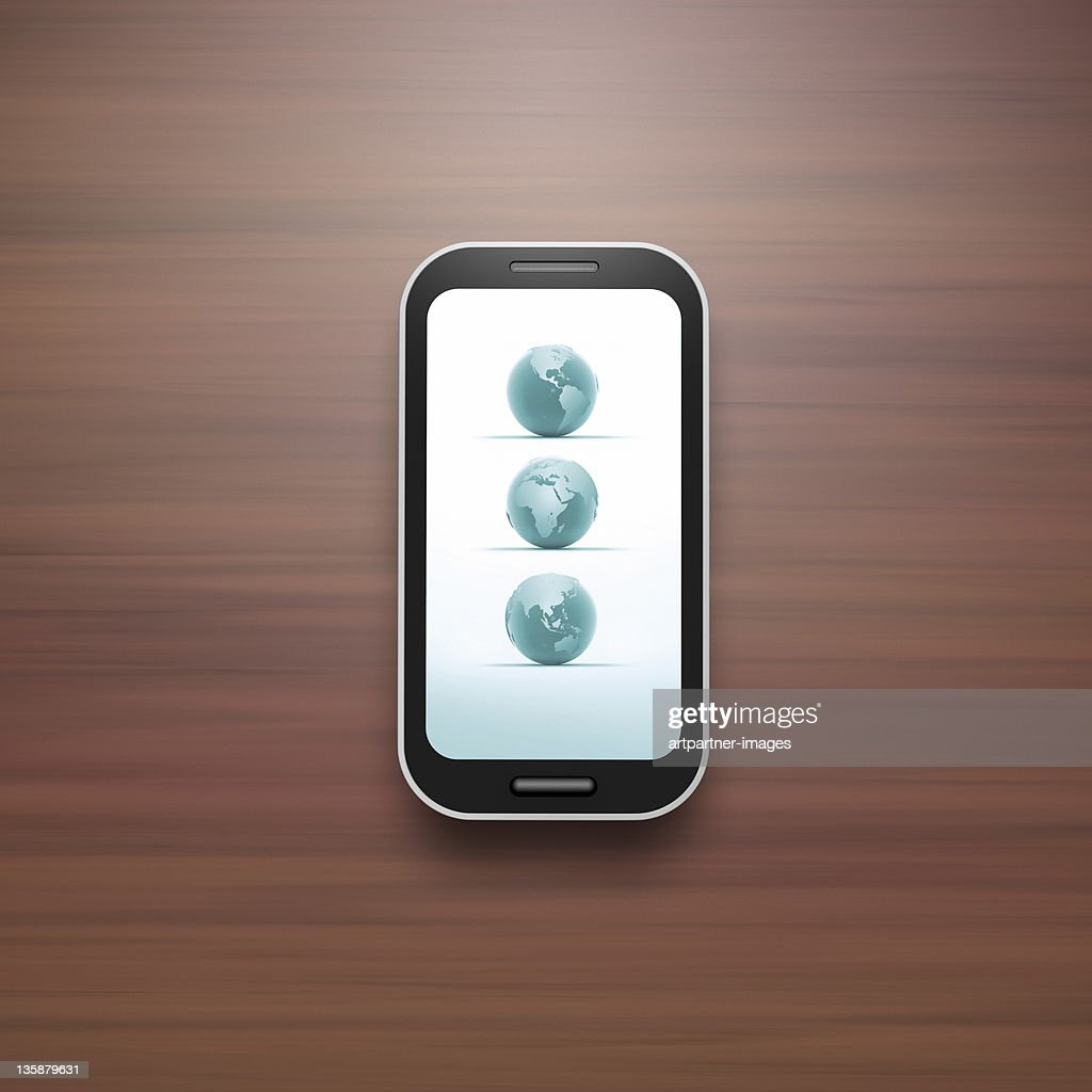 Everywhere usable Smart Phone with Touch Screen : Stock Photo