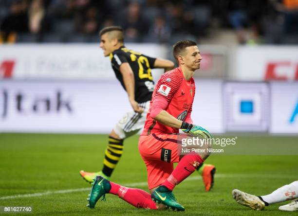 Evgegenij Kobozev goalkeeper of Jonkopings Sodra dejected after his team has conceded an own goal during the Allsvenskan match between AIK and...
