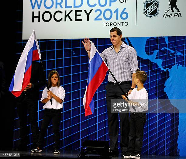 Evgeni Malkin of Team Russia is introduced during the World Cup of Hockey Media Event on September 9 2015 at Air Canada Centre in Toronto Ontario...