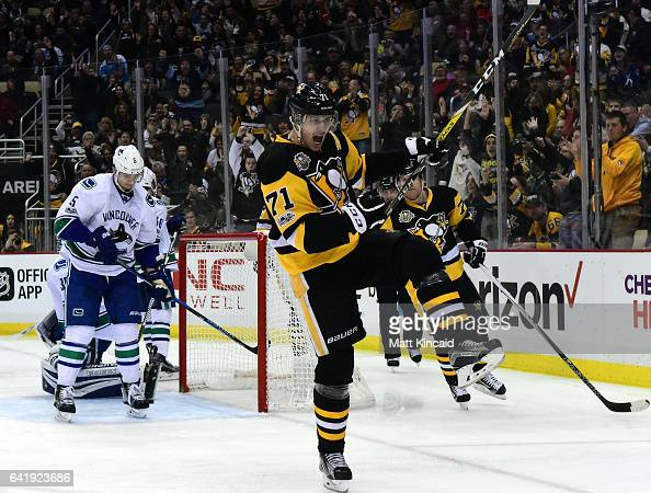 Evgeni Malkin of the Pittsburgh Penguins celebrates after scoring a goal against the Vancouver Canucks at PPG PAINTS Arena on February 14 2017 in...