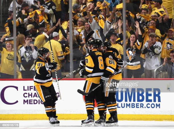 Evgeni Malkin of the Pittsburgh Penguins celebrates his goal with teammates during the first period of Game Five of the 2017 NHL Stanley Cup Final...