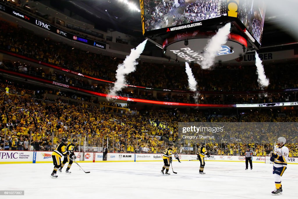 Evgeni Malkin #71 of the Pittsburgh Penguins celebrates with teammates after scoring a goal during the third period in Game Two of the 2017 NHL Stanley Cup Final against the Nashville Predators at PPG Paints Arena on May 31, 2017 in Pittsburgh, Pennsylvania.