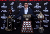 Evgeni Malkin of the Pittsburgh Penguins poses after winning the Ted Lindsay Award the Art Ross Trophy and the Hart Trophy during the 2012 NHL Awards...