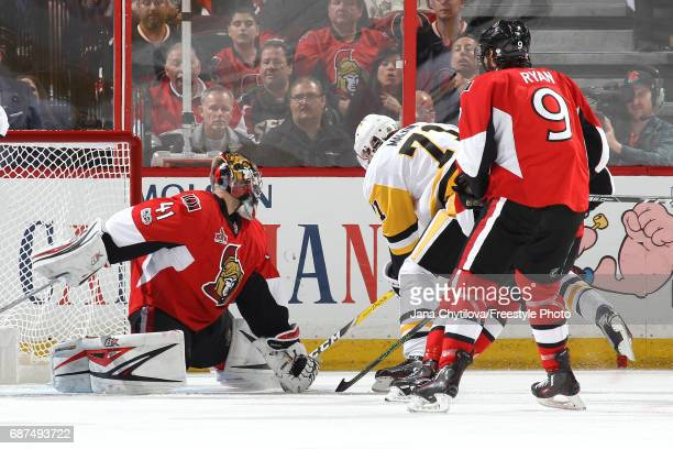 Evgeni Malkin of the Pittsburgh Penguins scores a goal on Craig Anderson of the Ottawa Senators during the second period in Game Six of the Eastern...