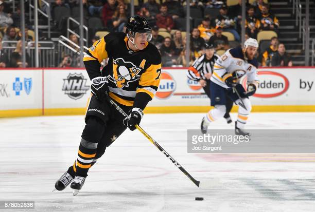 Evgeni Malkin of the Pittsburgh Penguins skates against the Buffalo Sabres at PPG Paints Arena on November 14 2017 in Pittsburgh Pennsylvania