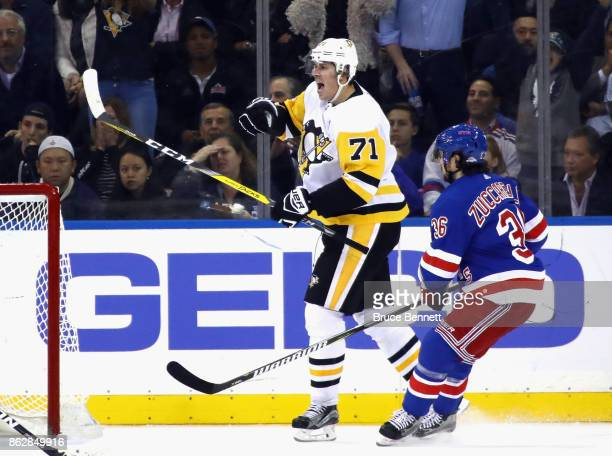 Evgeni Malkin of the Pittsburgh Penguins skates against the New York Rangers at Madison Square Garden on October 17 2017 in New York City The...