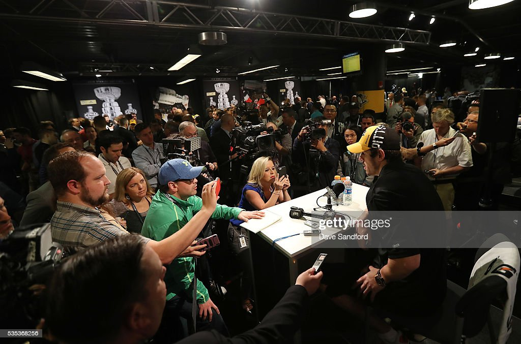 <a gi-track='captionPersonalityLinkClicked' href=/galleries/search?phrase=Evgeni+Malkin&family=editorial&specificpeople=221676 ng-click='$event.stopPropagation()'>Evgeni Malkin</a> #71 of the Pittsburgh Penguins speaks during Media Day prior to the 2016 NHL Stanley Cup Final between the Pittsburgh Penguins and San Jose Sharks May 29, 2016 at Consol Energy Center in Pittsburgh, Pennsylvania, United States.