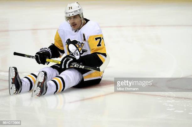 Evgeni Malkin of the Pittsburgh Penguins warms up during a game against the Florida Panthers at BBT Center on October 20 2017 in Sunrise Florida