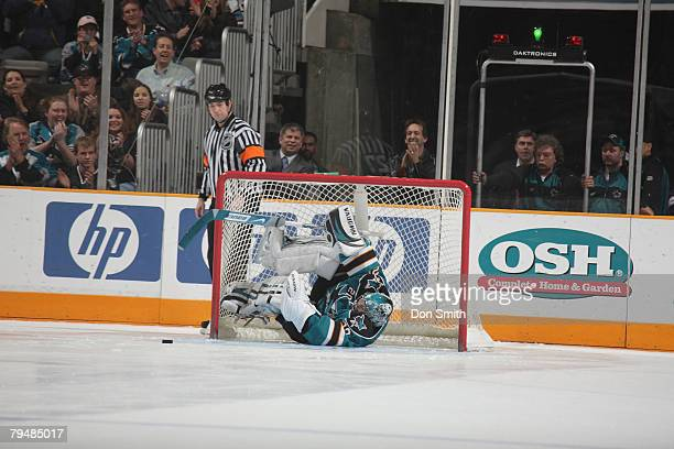 Evgeni Nabokov of the San Jose Sharks makes an amazing save on the shootout during an NHL game vs the Chicago Blackhawks on February 2 2008 at HP...