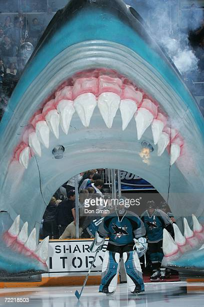 Evgeni Nabokov of the San Jose Sharks skates through the Sharks head prior to a game against the New York Islanders on October 16 2006 at the HP...