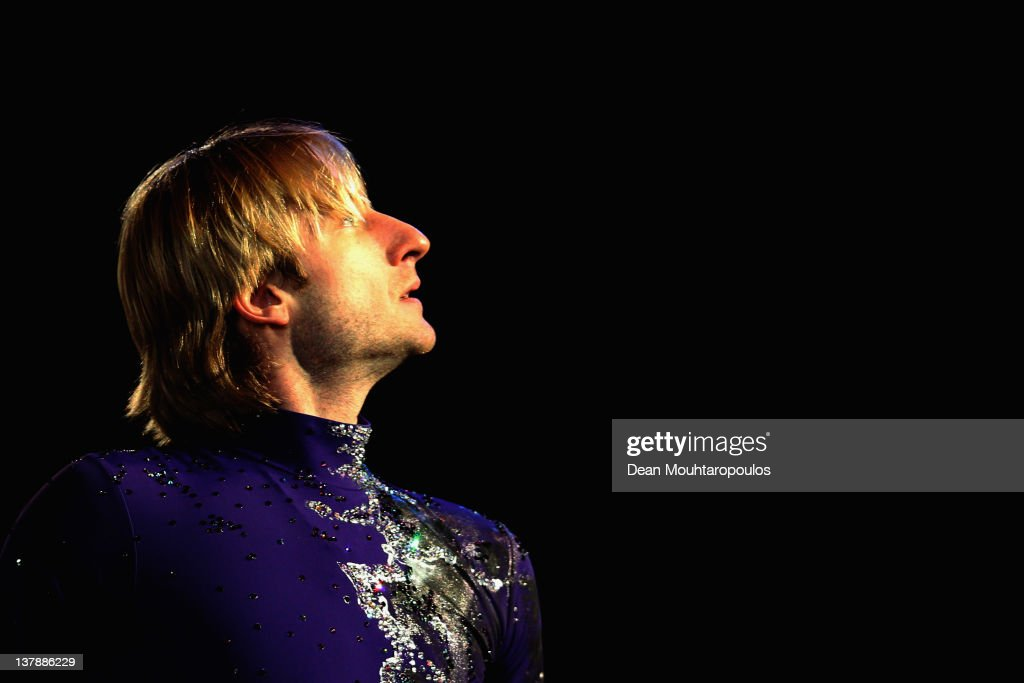 Evgeni Plushenko of Russia in action during the Exhibition Galla during the ISU European Figure Skating Championships at Motorpoint Arena on January 29, 2012 in Sheffield, England.