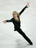 Evgeni Plushenko of Russia performs during the mens free skating at The 2004 World Figure Skating Championships at Westfalenhalle on March 25 2004 in...