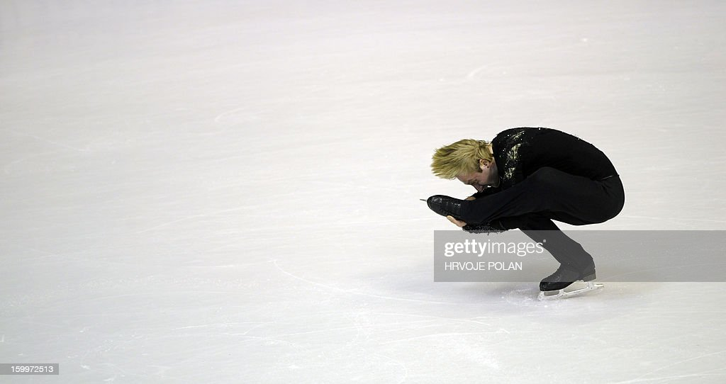 Evgeni Plushenko of Russia performs during the men's short program at the European Figure Skating Championships in Zagreb on January 24, 22013.