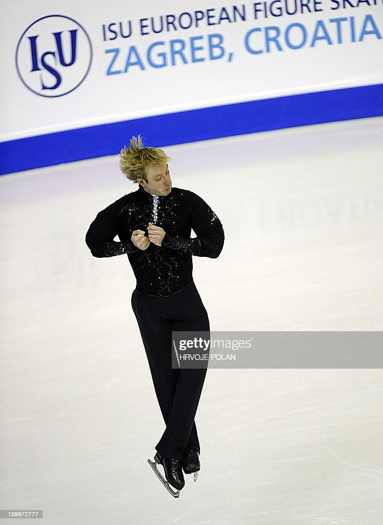 Evgeni Plushenko of Russia performs during the men's short program at the European Figure Skating Championships in Zagreb on January 24, 22013. AFP PHOTO/HRVOJE POLAN