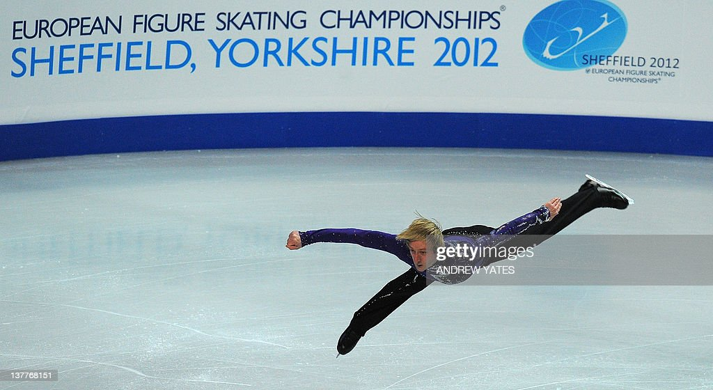 Evgeni Plushenko of Russia performs during the men's short program on day four of the ISU European Figure Skating Championships at the Motorpoint Arena in Sheffield, north England, on January 26, 2012.