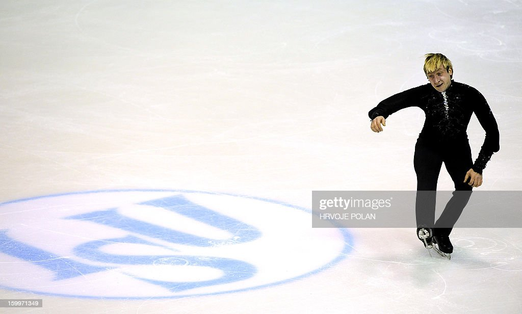 Evgeni Plushenko of Russia performs during the men's short program during the European Figure Skating Championships in Zagreb on January 24, 22013. AFP PHOTO/HRVOJE POLAN