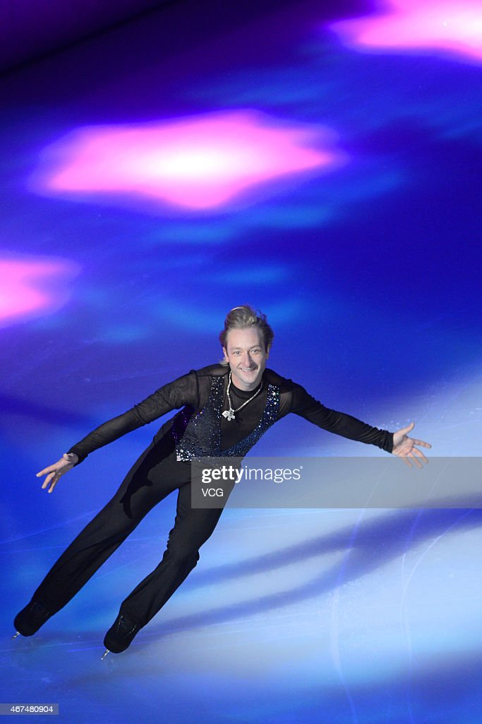 <a gi-track='captionPersonalityLinkClicked' href=/galleries/search?phrase=Evgeni+Plushenko&family=editorial&specificpeople=211142 ng-click='$event.stopPropagation()'>Evgeni Plushenko</a> of Russia performs figure skating during the opening ceremony of 2015 Shanghai World Figure Skating Championships on March 25, 2015 in Shanghai, China.