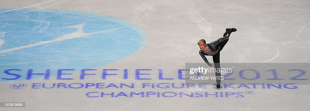 Evgeni Plushenko of Russia performs in the Mens free skate preliminary round during the European figure skating championships at the Motorpoint Arena in Sheffield, north-west England on January 23 2012. AFP PHOTO/ANDREW YATES.
