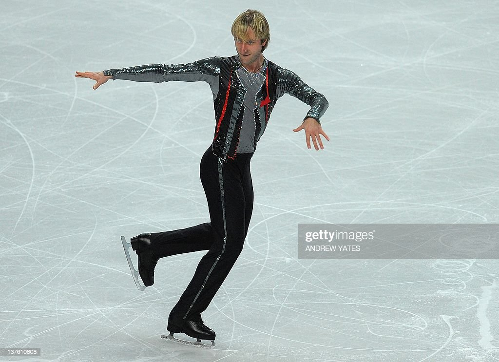 Evgeni Plushenko of Russia performs in the Mens free skate preliminary round during the European figure skating championships at the Motorpoint Arena in Sheffield, north-west England on January 23, 2012. AFP PHOTO/ANDREW YATES.