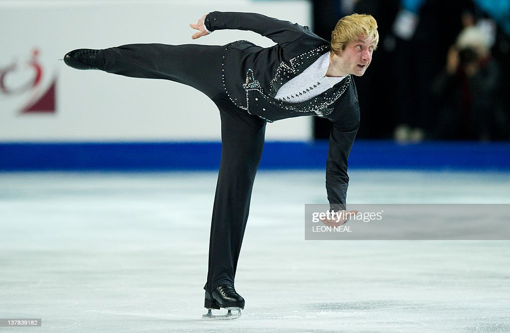 Evgeni Plushenko of Russia performs in the Mens Free Skating on day six of the ISU European Figure Skating Championships at the Motorpoint Arena in Sheffield on January 28, 2012.