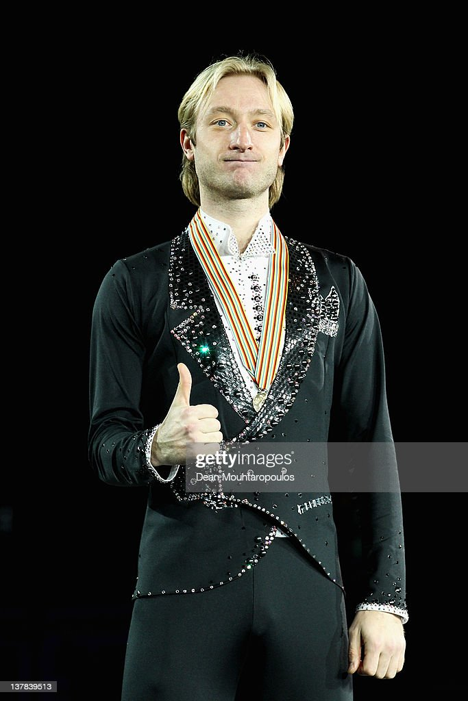 Evgeni Plushenko of Russia poses with the Gold medal after winning the Mens Ice Dance Free Dance during the ISU European Figure Skating Championships at Motorpoint Arena on January 28, 2012 in Sheffield, England.