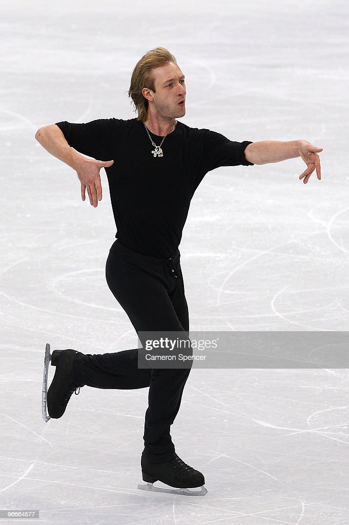 <a gi-track='captionPersonalityLinkClicked' href=/galleries/search?phrase=Evgeni+Plushenko&family=editorial&specificpeople=211142 ng-click='$event.stopPropagation()'>Evgeni Plushenko</a> of Russia practices during figure skating training on day 2 of the Vancouver 2010 Winter Olympics at Pacific Coliseum on February 13, 2010 in Vancouver, Canada.