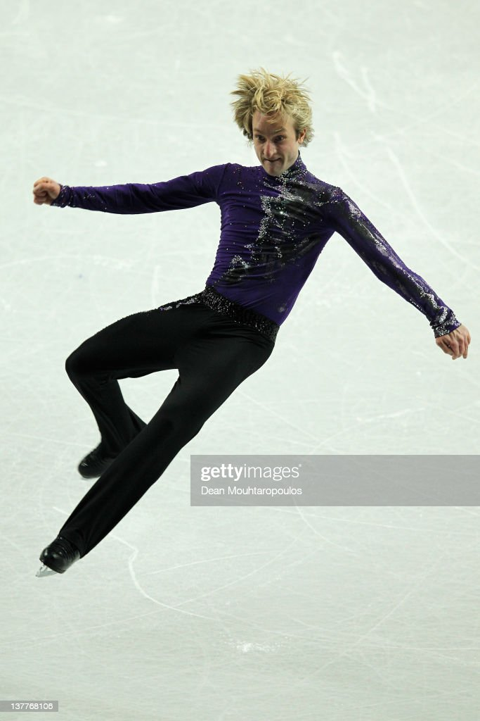 Evgeni Plushenko of Russia preforms in the Mens Short Program during the ISU European Figure Skating Championships at Motorpoint Arena on January 26...