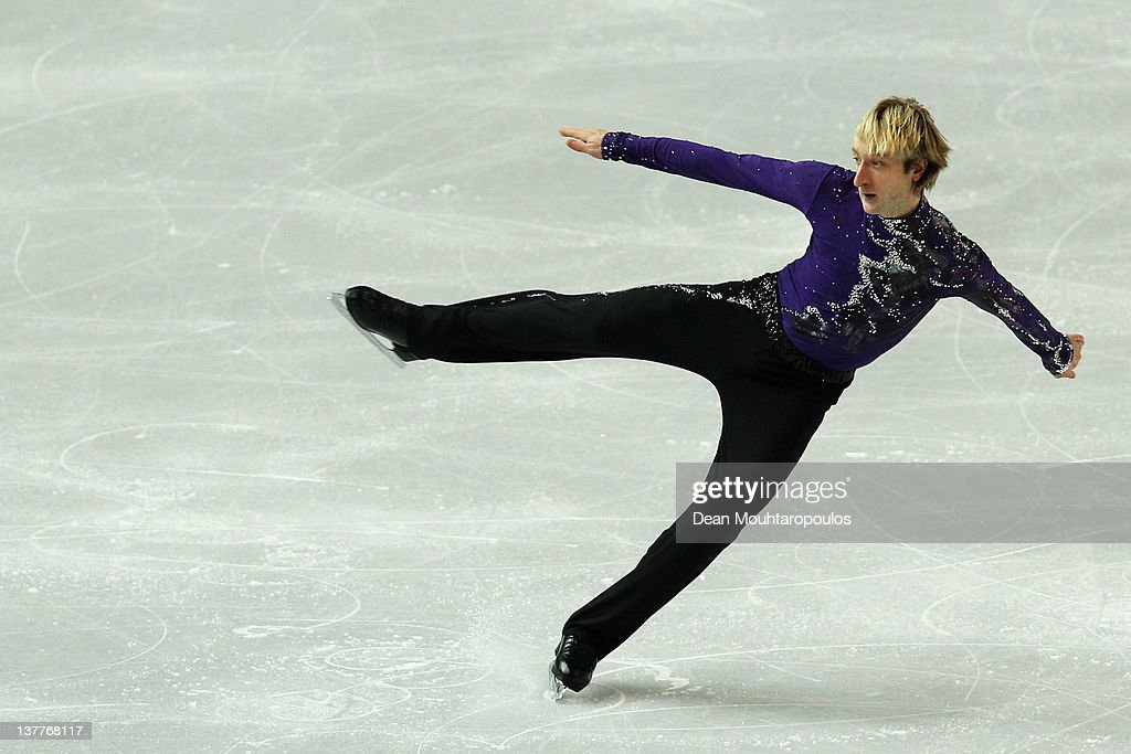 <a gi-track='captionPersonalityLinkClicked' href=/galleries/search?phrase=Evgeni+Plushenko&family=editorial&specificpeople=211142 ng-click='$event.stopPropagation()'>Evgeni Plushenko</a> of Russia preforms in the Mens Short Program during the ISU European Figure Skating Championships at Motorpoint Arena on January 26, 2012 in Sheffield, England.
