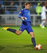 Evgeni Pomazan of FC Anji Makhachkala in action during the UEFA Europa League group stage match between FC Anji Makhachkala and Tottenham Hotspur FC...