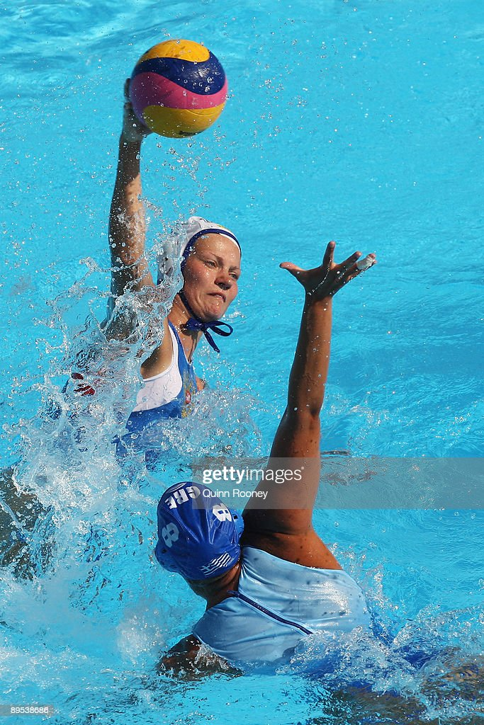 Evgenia Ivanova of Russia shoots and scores the winning goal in the final seconds in the Womens Water Polo Bronze Medal Match during the 13th FINA...